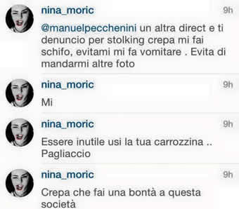 Nina Moric insulta un suo fan disabile su un social